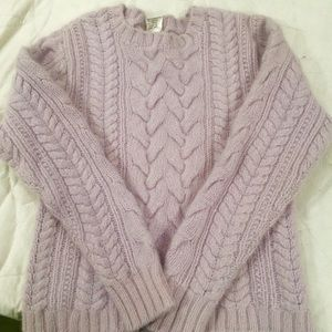 J Crew lilac Cable knit Soft Sweater